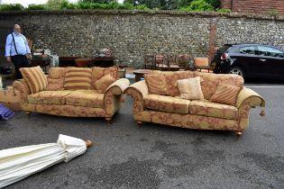 Two modern sofas.
