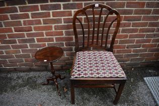 An antique mahogany dining chair;together with a reproduction wine table.