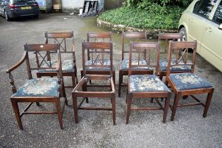 A set of eight antique mahogany diningchairs;to include a pair of carvers.