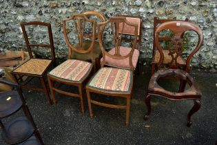 (LC) A balloon back dining chair;together with a pair of cane seated chairs and four others.