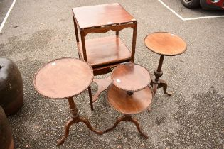 An old mahogany shaving stand;together with two tripod tables and a two tier table.