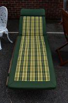 (LC) A teak garden sun lounger,169cm long.