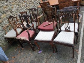 Five Georgian elbow chairs;together with two Edwardian chairs.