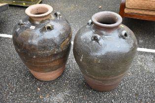 (LC) A pair of decorative garden urns,60cm high.