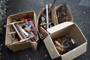 (LC) Four various boxes of tools.