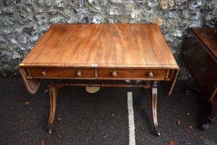 An antique inlaid sofa table,99cm wide x 70cm deep x 72cm high.