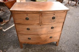 A 19th century mahogany bowfront chest of drawers,90cm wide x 48cm deep x 90cm high.