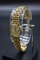 A boxed Longines 'Les Grandes Classiques' gold plated quartz bracelet watch,24mm, ref L5 132 2.
