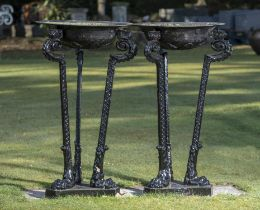 Garden pots and urns: A pair of cast iron braziers, mid 19th century, one with makers stamp Addis.
