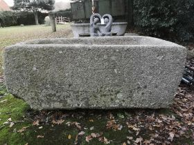 Troughs: A large rectangular Cornish granite trough, 70cm high by 175cm wide by 108cm deep