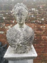 Garden statues: A carved white marble portrait bust of a lady, signed Simonds Fec Roma 1865, 71cm