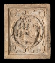 Architectural: A similar boundary marker plaque, lacking Coade stamp, 30cm high by 25cm wide,