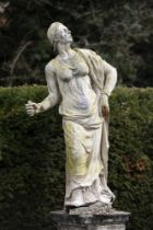 Garden statues: A rare lead figure of an allegorical figure, Low Countries, 18th century, 155cm