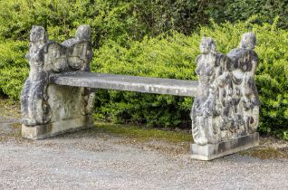 Garden seats: An Italian carved white marble double sided bench, circa 1900, 176cm wide, From a