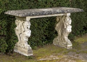 Garden tables: A carved white marble Renaissance style table, Italian, circa 1900, old damages,