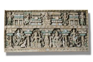 Architectural: A painted hardwood frieze, Indian, late 19th/early 20th century, 90cm high by 182cm