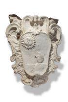 Architectural: A rare carved limestone armorial from La Suvera, Siena, country villa of Pope