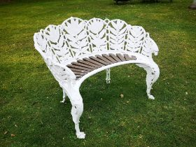 Garden seats: A Coalbrookdale Laurel pattern cast iron seat, circa 1870, foundry marks possibly