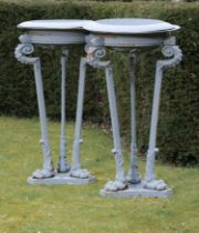 Garden pots and urns: A pair of rare cast iron braziers, mid 19th century, makers plaque on bases