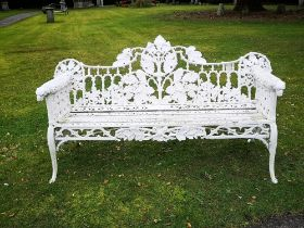 Garden seats: A Coalbrookdale Oak and Ivy pattern cast iron seat made for the Colonies, circa 1870