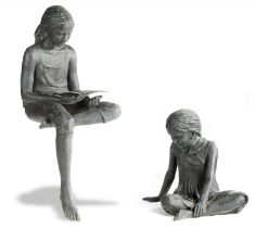 Garden statues: Brian Alabaster, Livvy and Evie, Bronze from a sold out edition of 20, Signed with