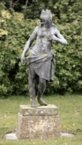Garden statues: A rare lead figure of Leda and the swan possibly by John Van Nost, mid 18th century,