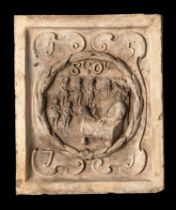 Garden statues: A Coade stone boundary marker plaque depicting the seal of St Olave's school and its