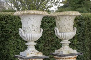 Garden pots and urns: A pair of stoneware urns, possibly Northern European, early 20th century,