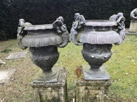 Garden pots and urns: A pair of Wimperis and Best lead urns, early 20th century, 69cm high , This