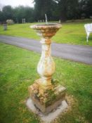 Sundials: An unusual cast iron sundial, 2nd half 19th century, with later bronze dial, 104cm high,