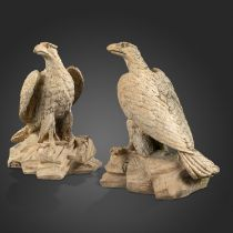 Garden statues: A pair of rare Blanchard's terracotta eagles, late 19th century, each with