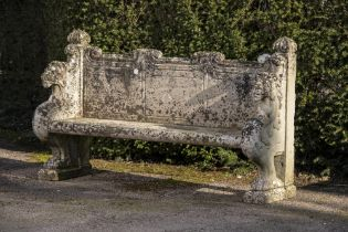 Garden seats: A pair of impressive carved Portland stone seats, 19th century, 180cm long,