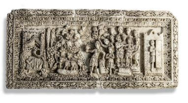 Architectural: An interesting and unusual early carved marble plaque, 53cm high by 113cm long by 6cm