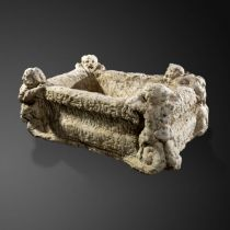 Architectural: A rare carved white marble basin, Italian, 16th/17th century, 36cm high by 90cm