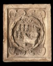 Architectural: A similar Coade stone boundary marker plaque, lacking Coade stamp, 30cm high by