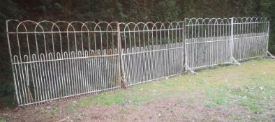 Gates & Railings: A run of 7.3 metres of wrought iron estate railing, 19th century, comprising