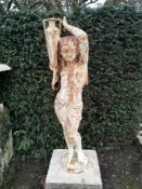 Garden Statue/Lighting: A Durenne foundry cast iron torchere figure of an Egyptian boy, the base