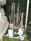 Horticultural Items: A collection of vintage garden tools including, mattock, hayfork, wheeled
