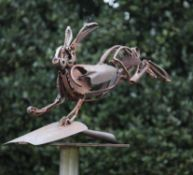 Modern and Garden Sculpture: Harriet Mead, born 1969, Hare on Shovel, Junk Hare on Shovel, Found