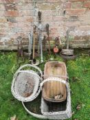 Horticultural Items: A collection of vintage garden tools including, three brass rose sprays,
