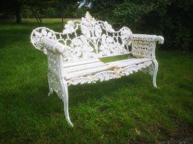 A Coalbrookdale style Oak and Ivy pattern cast iron seat