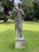 An Austin and Seeley composition stone figure of Diana de Gabies