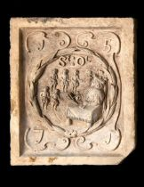 A Coade stone boundary marker plaque depicting the seal of St Olave's school and its...