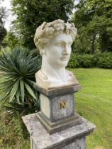 An impressive carved white marble bust of Napoleon