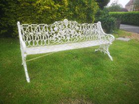 A Coalbrookdale rustic pattern cast iron seat