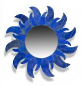 A sunburst Lapis Lazuli veneered mirror