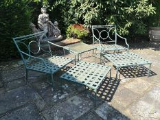 A suite of powder coated aluminium garden furniture