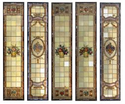 A set of five stained and leaded glass metal framed windows