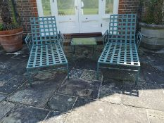 A similar pair of powder coated aluminium steamer reclining chairs