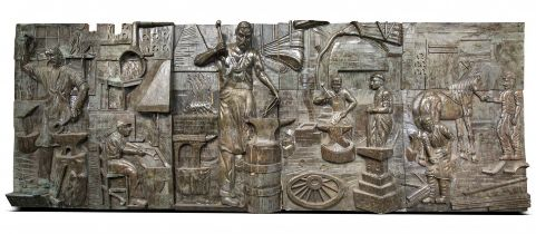 A monumental and impressive copper sheet coated wooden wall sculpture